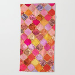 Hot Pink, Gold, Tangerine & Taupe Decorative Moroccan Tile Pattern Beach Towel