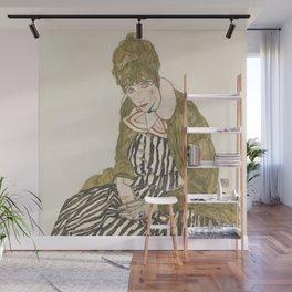 Egon Schiele - Edith with Striped Dress, Sitting Wall Mural