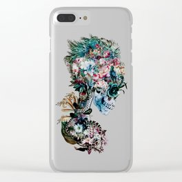 Floral Skull RP Clear iPhone Case