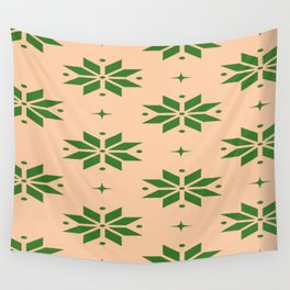 Snowflakes Pattern Green Yellow Snow Wall Tapestry
