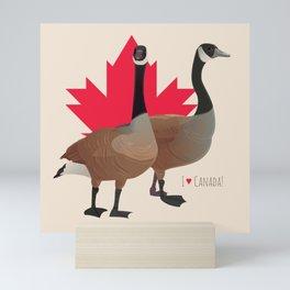 I Love Canada! (Two Canada Geese) Mini Art Print