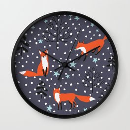 Red foxes in the nignt winter forest Wall Clock