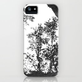 Graphite drawing landscape with trees against light iPhone Case