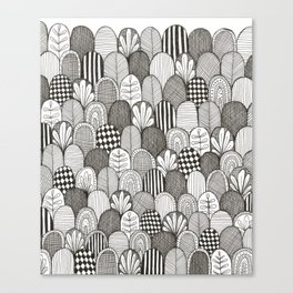 black and white scaley pattern Canvas Print