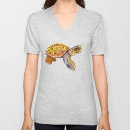 Orange Baby Turtle Unisex V-Neck