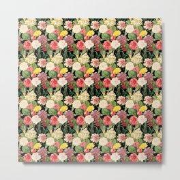 Multicolored Flowers 2   Vintage Floral Pattern   Flower Patterns   Metal Print