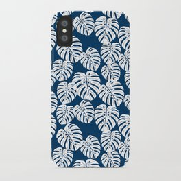 Monstera leaf tropical pattern minimal botanical design by andrea lauren iPhone Case