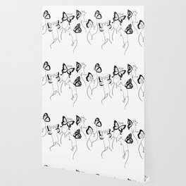 Black Ink Mouse Fairies Art Print Wallpaper