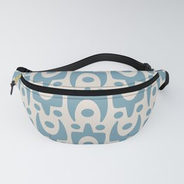 Mid Century Modern Abstract Pattern 157 Blue and Beige Fanny Pack