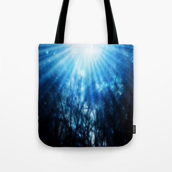 There Is Hope In the Light : Black Trees Blue Space Tote Bag