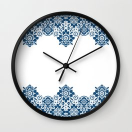 Blue lace on white background . Wall Clock