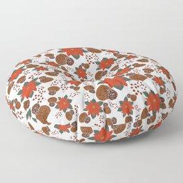 Holiday Poinsettia (White) Floor Pillow