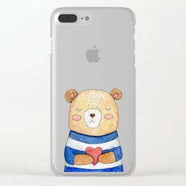 Cute Bear Clear iPhone Case