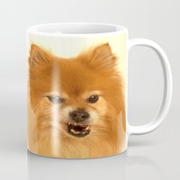 pomeranian Mugs featuring Angry Pomeranian dog by Bruce Stanfield