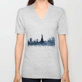 New York City Skyline  Blue Watercolor by zouzounioart Unisex V-Neck