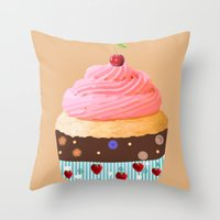 cupcake Throw Pillows featuring Cupcake by My Studio