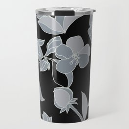 Blossoms, Line Drawing in Gray on Rich Black Travel Mug