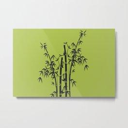 Bamboo Tree black Graphic green Metal Print