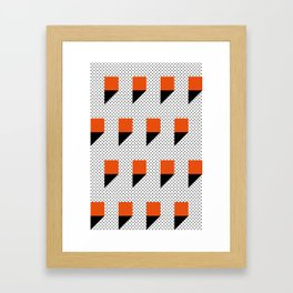 A lot of orange 3d Commas, planted in a carpet with black dots. Framed Art Print
