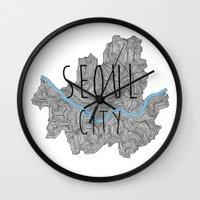 seoul Wall Clocks featuring Seoul city by Vania Pietronigro
