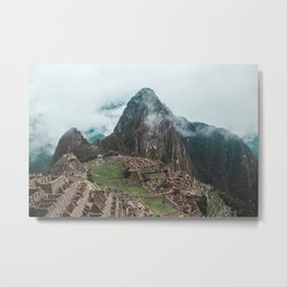 Ancient Inca ruins of Machu Picchu and surrounding Andes mountains in the early morning, Peru Metal Print