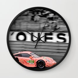 Pink Pig German Sports Motor Car Le Mans 2018 Wall Clock