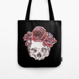 Black Skull of Flowers Tote Bag
