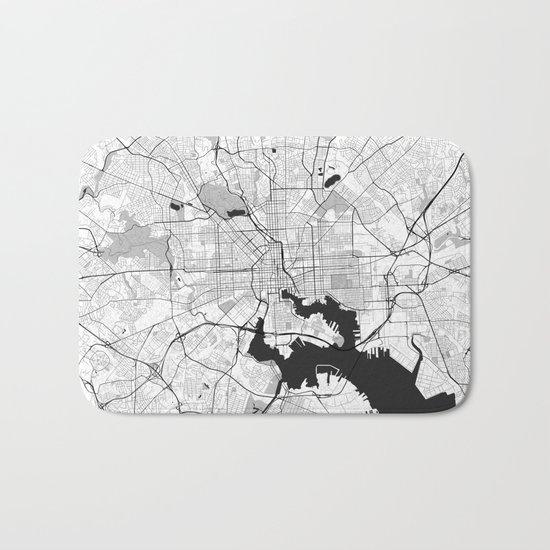 Baltimore Map Gray Bath Mat