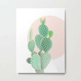 Cacti, Cactus decor, Pastel, Plant, Pink, Minimal, Interior, Wall art Metal Print