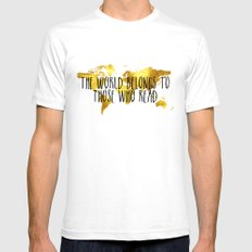 The World Belongs to those Who Read - Gold White 2X-LARGE Mens Fitted Tee