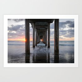 SCRIPPS PIER OCEAN SUNSET LA JOLLA CALIFORNIA PHOTOGRAPHY Art Print