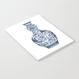 Blue & White Chinoiserie Porcelain Floral Vase with Flying Phoenix Notebook