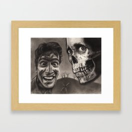 Ash with Skull and Cross - Evil Dead 2 Charcoal and Graphite Drawing Art Framed Art Print
