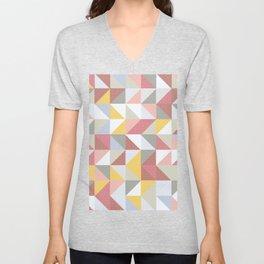 Triangle Square Rustic Quilt Pattern Design Unisex V-Neck
