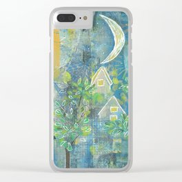Moon over little houses Clear iPhone Case