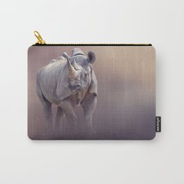 black rhinoceros potrait with reflection Carry-All Pouch