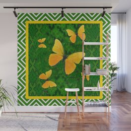 Western Style Yellow Butterflies Abstracted Green Pattern Wall Mural
