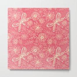 Dragonflies and flowers doodle pink Metal Print