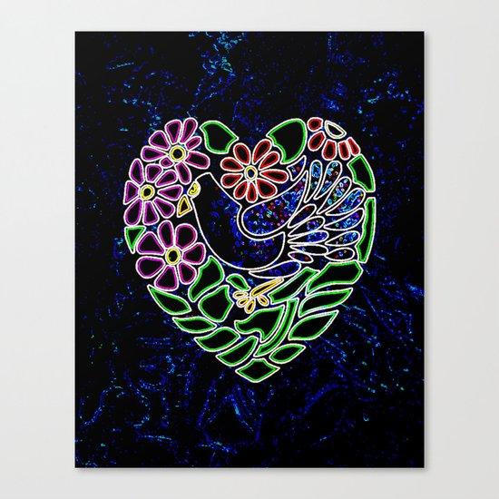 Gothic Bird in Heart Canvas Print