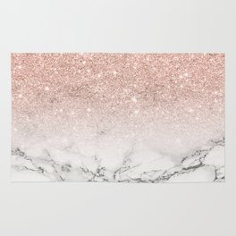 Modern faux rose pink glitter ombre white marble Rug