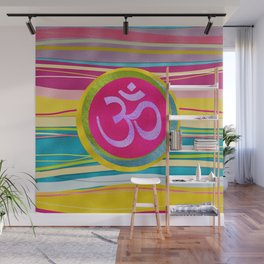 Colorfull Glitter OM symbol on  Pattern Wall Mural