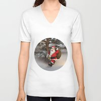 santa V-neck T-shirts featuring Santa by Design Windmill