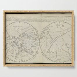 A map of the Earth, from Astronomy explained upon Sir Isaac Newton's principles (1770) Serving Tray