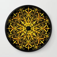 versace Wall Clocks featuring Versace Gold by Goldflakes