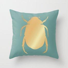 Egyptian Scarab | Gold beetle Throw Pillow