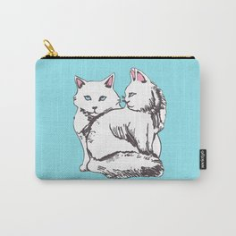 White Maine Coon Cats with Light Blue Carry-All Pouch