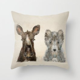 the little wolf and little moose Throw Pillow