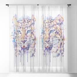 Watercolor Leopard Head Sheer Curtain