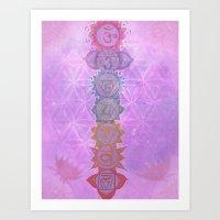 chakra Art Prints featuring Chakra by AngelaCorrin