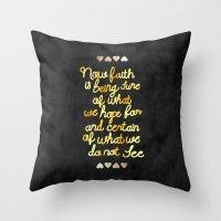 faith Throw Pillows featuring Faith  by Perrin Le Feuvre